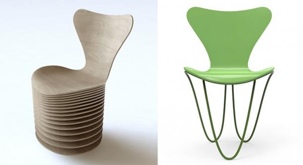 Svou vlastní interpretaci židle Series 7 představilo i studio BIG (vlevo) či Zaha Hadid (vpravo).