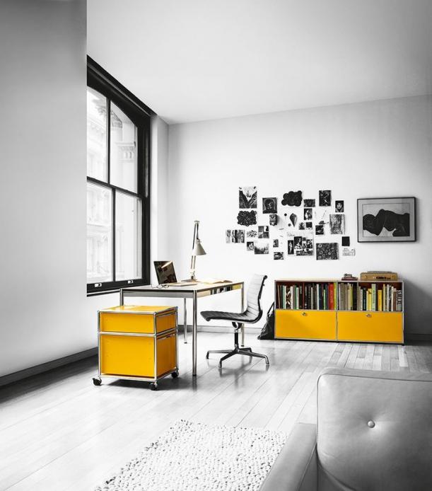 Nábytek - USM Modular Furniture: koule + trubky + panely = kancelářský nábytek