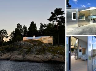 Hliníkový dům odráží mořskou hladinu i celé své okolí