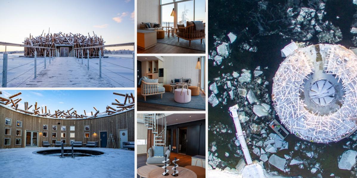 V srdci Laponska najdete plovoucí lázeňský hotel Arctic Bath