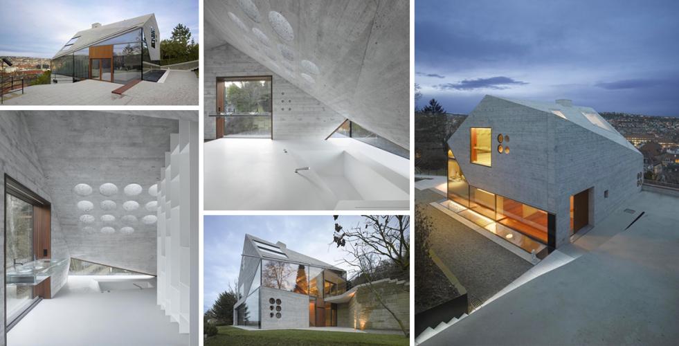 Energeticky úsporný dům připomíná kamennou jeskyni i horský křišťál