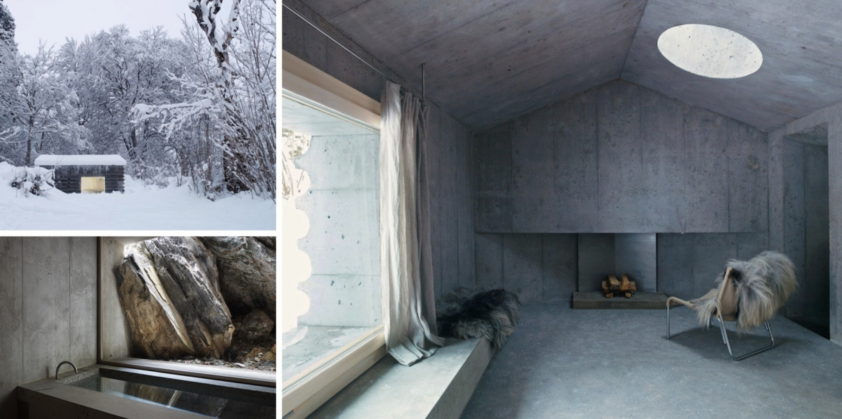 Lesní domek působí jako betonová skrýš