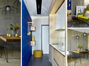 Dva materiály, tři barvy a geometrie - moderní domov pro mladý pár