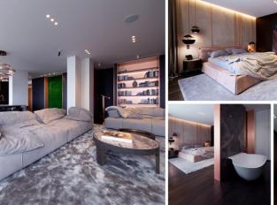 Propojením dvou apartmánů vznikl jeden velký byt, který zdobí měď i mramor