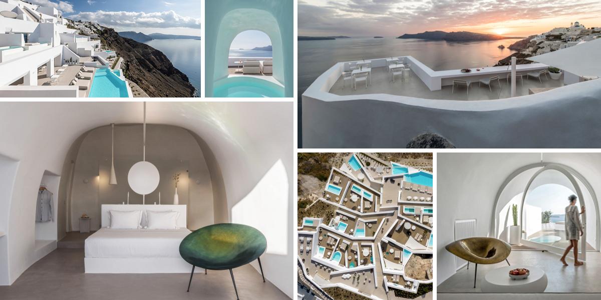 Hotel Saint na Santorini připomíná moderní jeskynní komplex