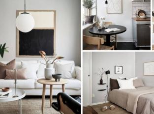 Útulný domov v minimalistickém duchu a zdi plné umění
