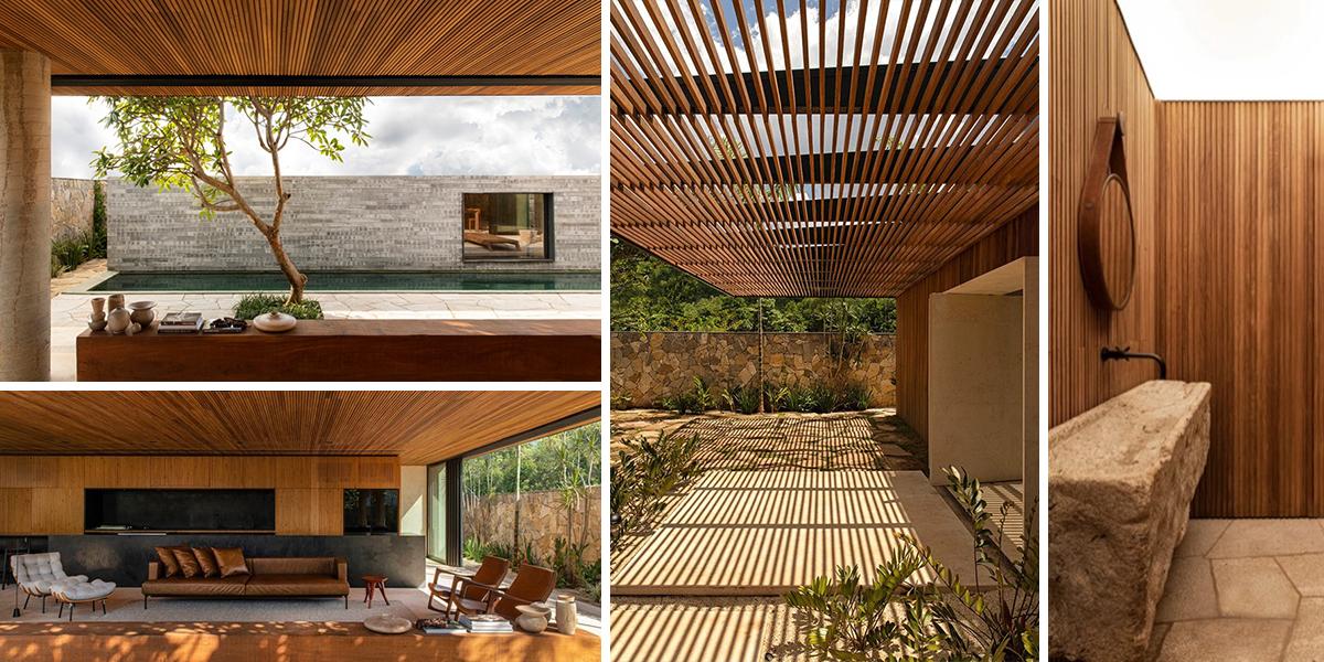 Sídlo v brazilských tropech zasvěcené dřevu a kameni