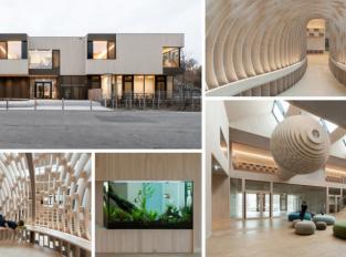"""Mateřskou školu Riedlepark v Německu zdobí levitující dřevěný """"kokon"""""""