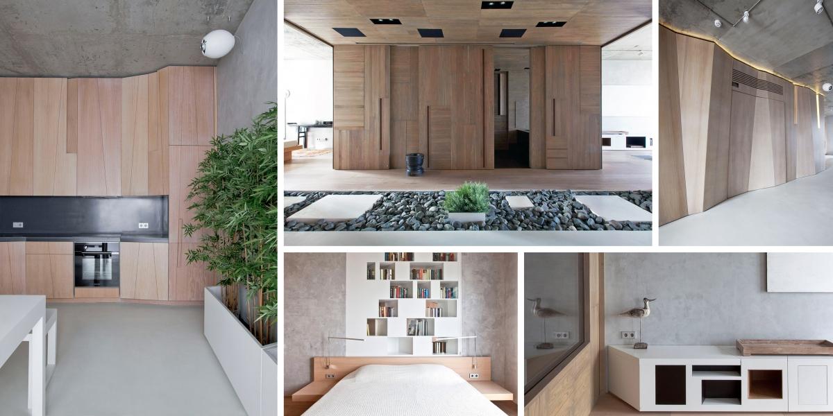 Byt v Moskvě ožil v japonském stylu: zdobí ho příroda i fazetové dřevo