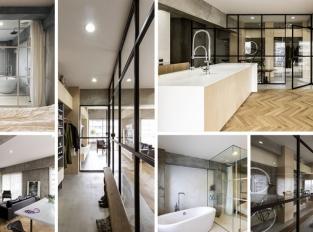 Interiér bytu v Tokyu zdobí prosklené stěny a otočné dveře