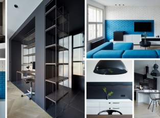 Pražský byt od studia SMLXL oživuje zářivá modrá
