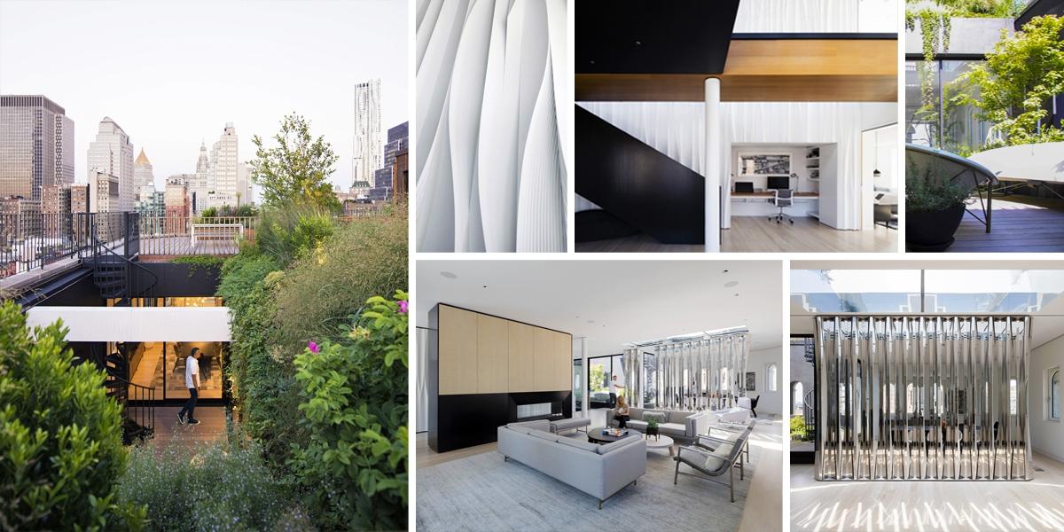 Podkrovní byt v centru New Yorku zdobí zelená oáza s krásnými výhledy