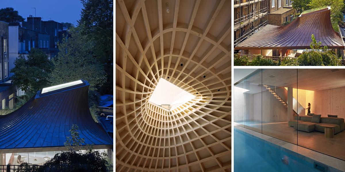 Podzemní dům v londýnské městské zahradě zdobí netradiční střecha