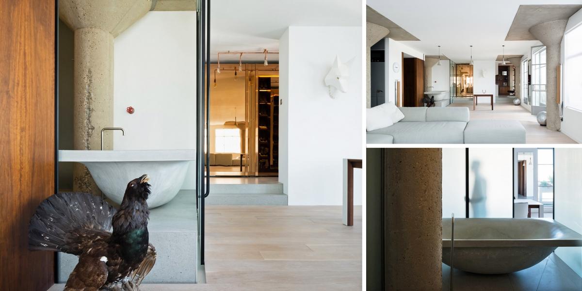 Stará půda se proměnila v elegantní byt s betonovými prvky