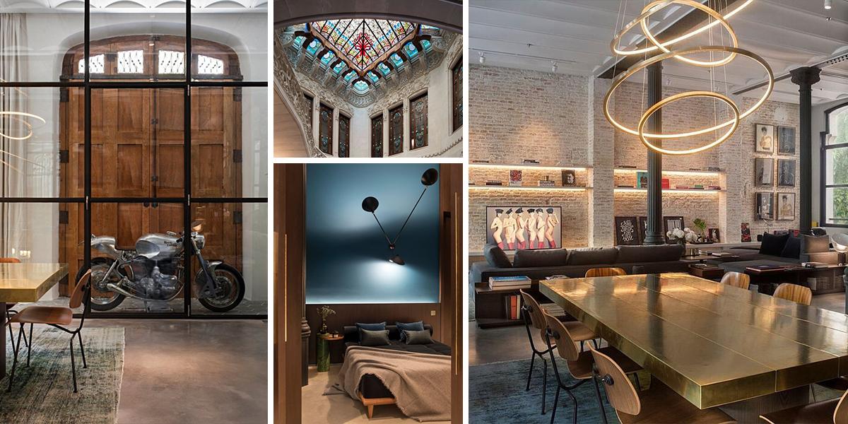 Loft v barcelonské modernistické budově s mužným šarmem
