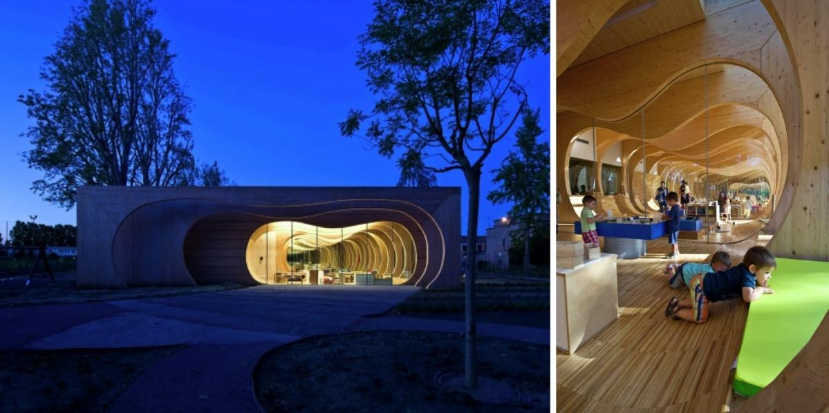 Vztah dětí kpřírodě je přínosný, ukazuje školka od italských architektů