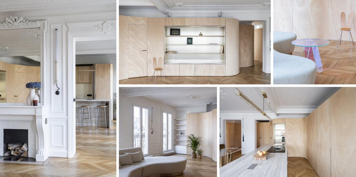 Pařížský byt vyzdobila obří dřevěná stuha