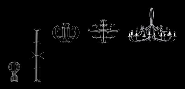 Rodina Cocoon osvětlení, zleva: Gatto, Fantasma, Viscontea, Taraxacum a Zeppelin.