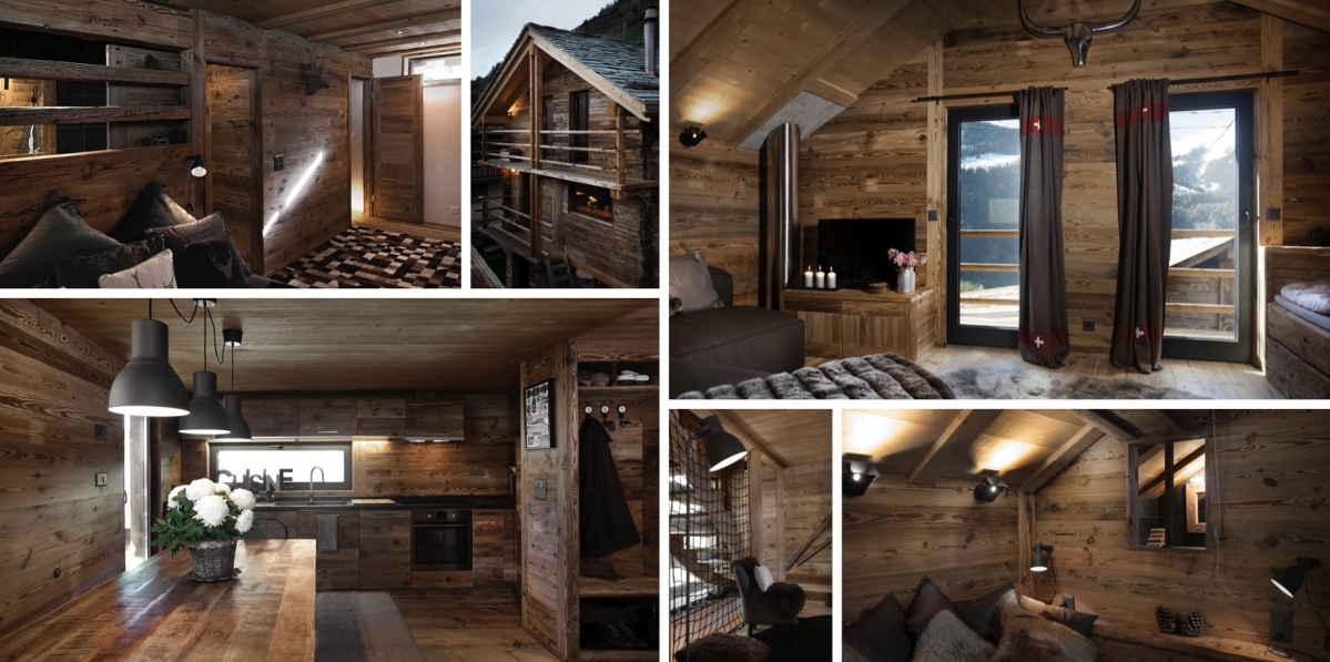 Rekonstrukce horské stodoly ve Švýcarsku ukazuje dřevo ve všech podobách