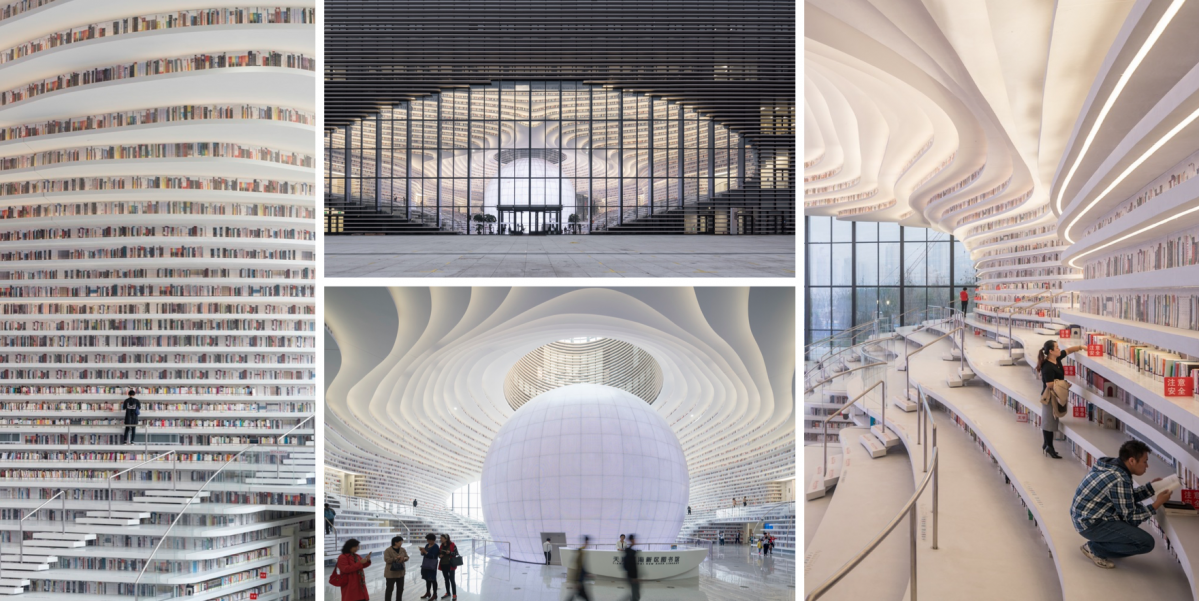 Knihovna Tianjin Binhai od ateliéru MVRDV připomíná oceán plný knih
