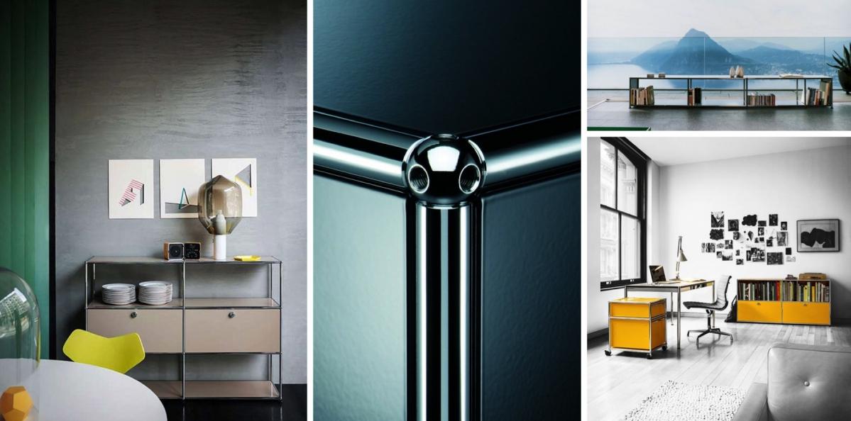 USM Modular Furniture: koule + trubky + panely = kancelářský nábytek