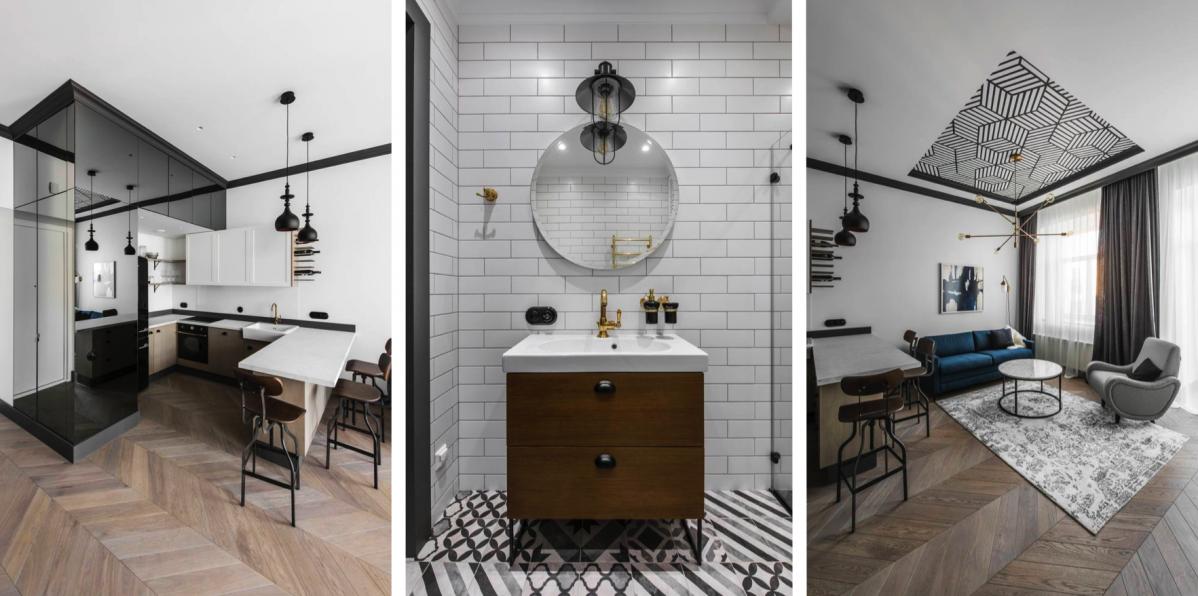 Eklektický interiér bytu ve Vilniusu vzdává hold vysokým stropům