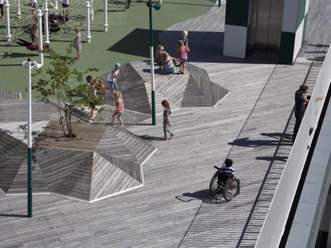 Exteriér školy v Sydhavenu, Kodaň