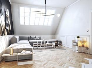 Černobílý apartmán - obývací pokoj