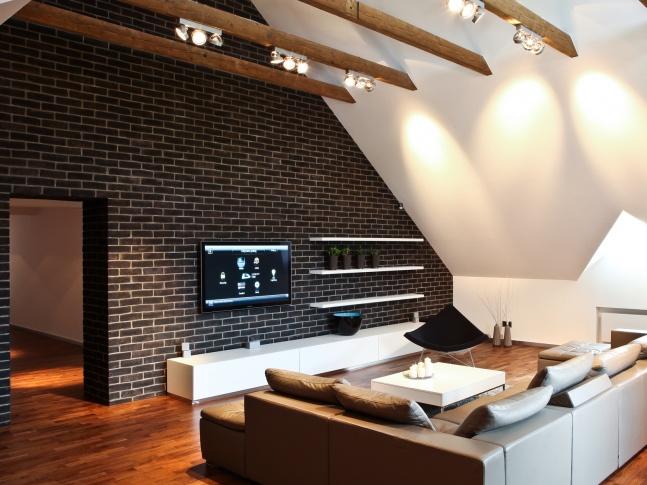 Dejvice Obývací pokoj půdního bytu Dejvice Obývací pokoj