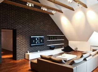 Dejvice Obývací pokoj půdního bytu