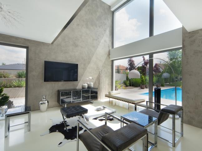 Imitace betonu - obývací pokoj