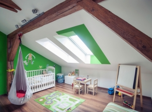 Půdní vestavba, Praha 5 - dětský pokoj