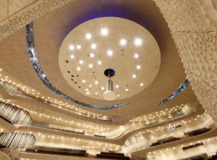 Stropy a stěny v Elbphilharmonie