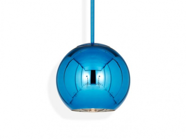 Copper Round Pendant Blue
