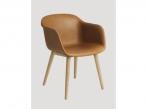 Fiber Chair Fiber Wood leather Silk Cognac