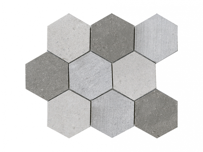 Mosaico - World Hexagon Texture Grey