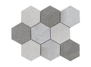 Mosaico - World Hexagon Texture Grey