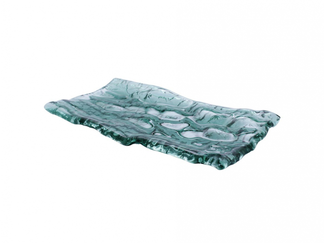 Pordamsa Mar green glass tray 28x15cm