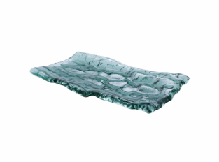 Pordamsa Mar green glass tray 28x15cm