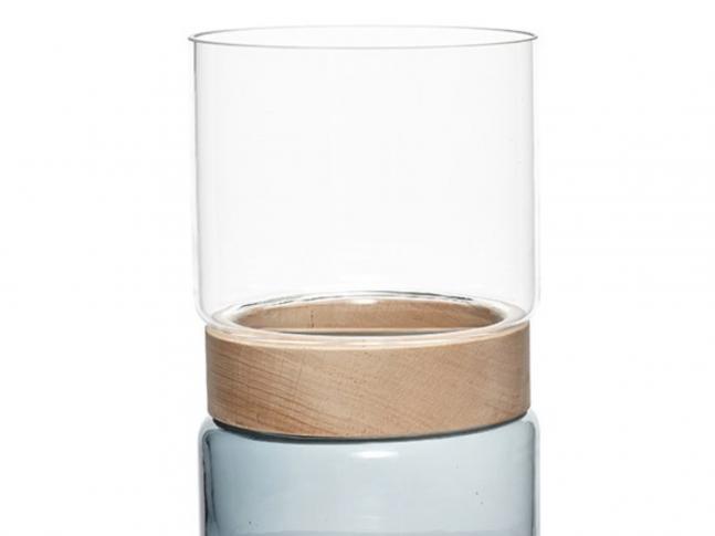 Skleněná váza Hübsch modročirá s dřevem