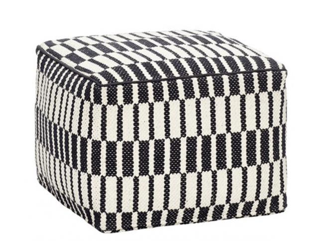 Čtvercový pouf Hübsch Pouf Pattern