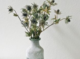 LOOOOX váza ledovaná lahev šedo zelená