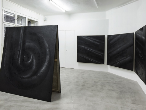 Drdova Gallery Daniel Vlček bbb666, 2015 modelling paste, pigment, oil on canvas 190 x 175 cm installation view, After the End of Art (with Levi van Veluw) Drdova Gallery